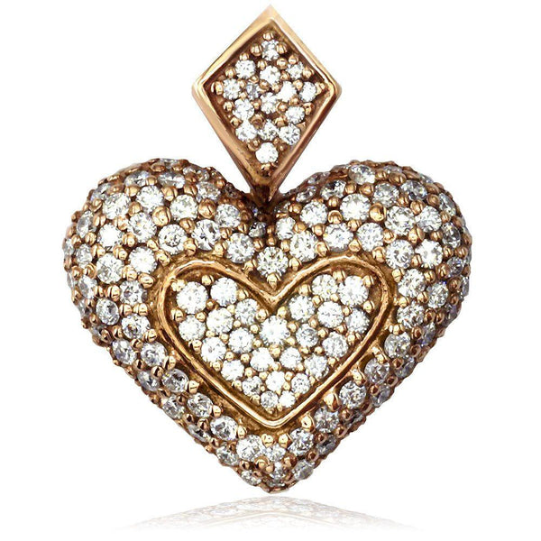 Large Puff Diamond Heart Pendant in 18K Gold
