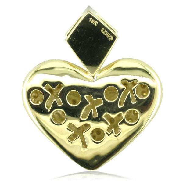 Large Puff Diamond Heart Pendant with Yellow Diamonds in 18K