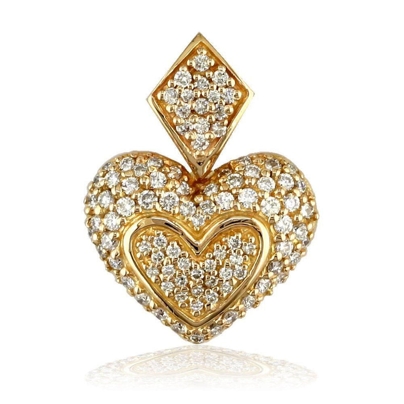 Medium Puff Diamond Heart Pendant in 18K Gold