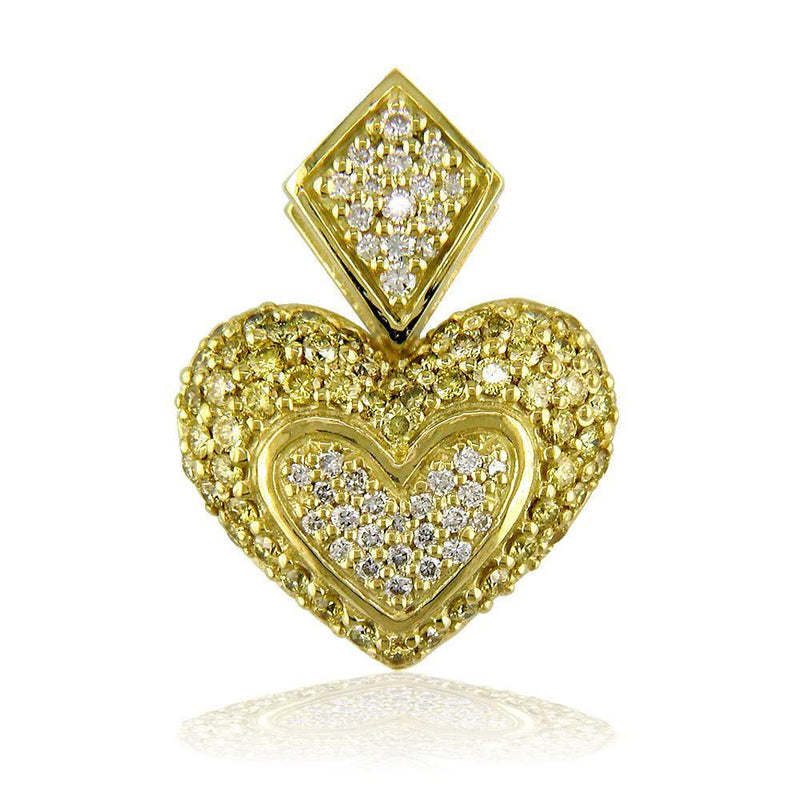 Medium Puff Diamond Heart Pendant in 18K with Large Bail and Yellow Diamonds