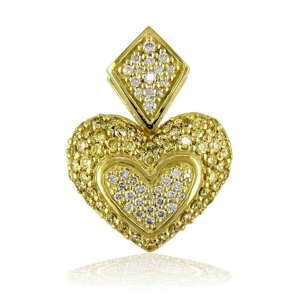ed0b9f7f74f6b Medium Puff Diamond Heart Pendant in 18K with Large Bail and Yellow Di –  Sziro Jewelry