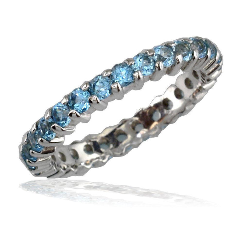 Blue Topaz Eternity Band in 14K, 1.60CT