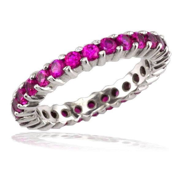 Pink Sapphire Eternity Band in 18K, 1.60CT