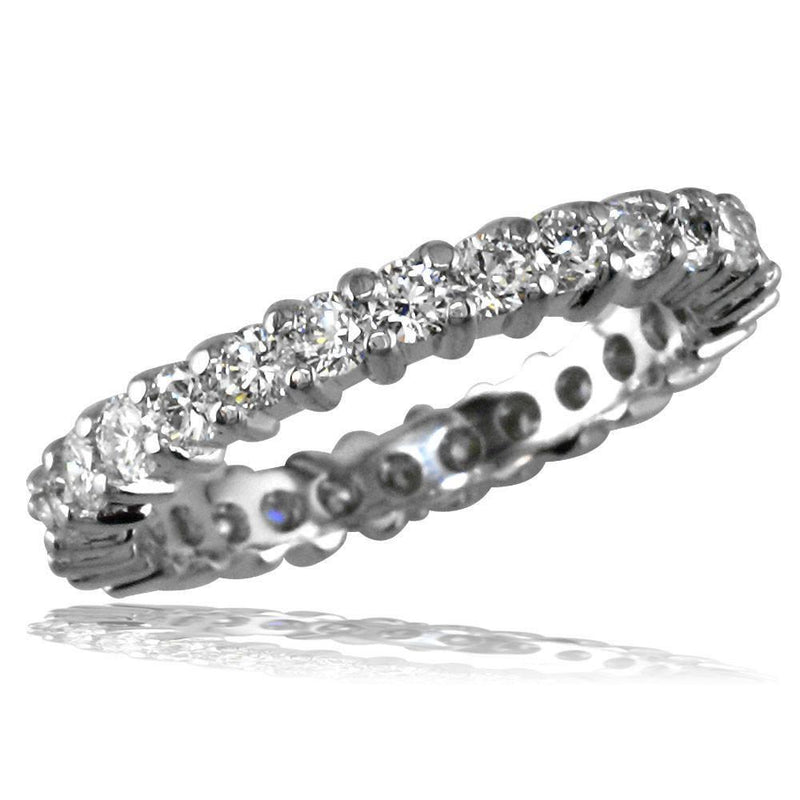 14K White Gold Round Diamonds Eternity Band, 1.20CT, Shared Prong E/W-Z23464W