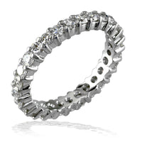 14K White Gold Round Diamonds Eternity Band, 1.20CT, Shared Prong
