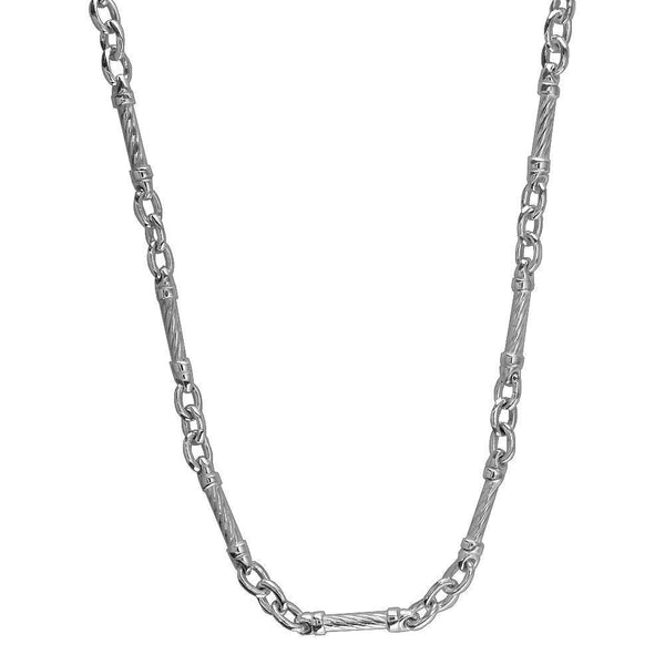 Mens Or Ladies Cable Link Chain in Sterling Silver, 22 Inches