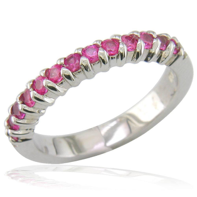 Half Eternity Pink Sapphire Ring in 18K White Gold