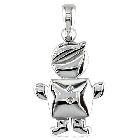 Large Belly Kids Sziro Boy 18k White Gold Charm for Mom, Grandma