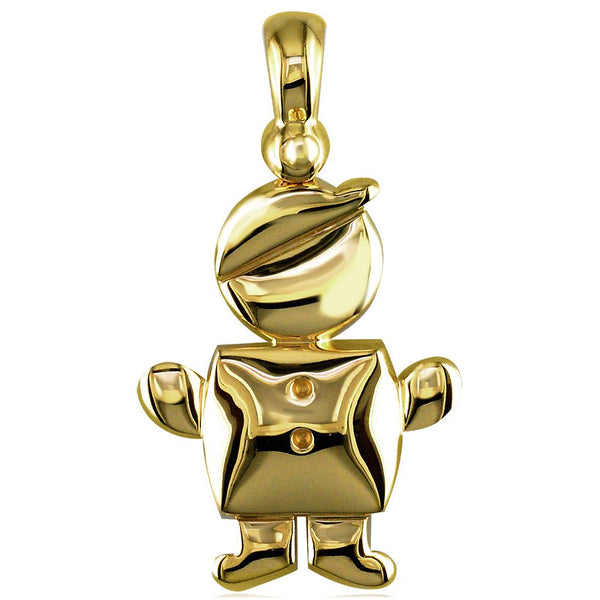 Large Belly Kids Sziro Boy 14k Yellow Gold Charm for Mom, Grandma