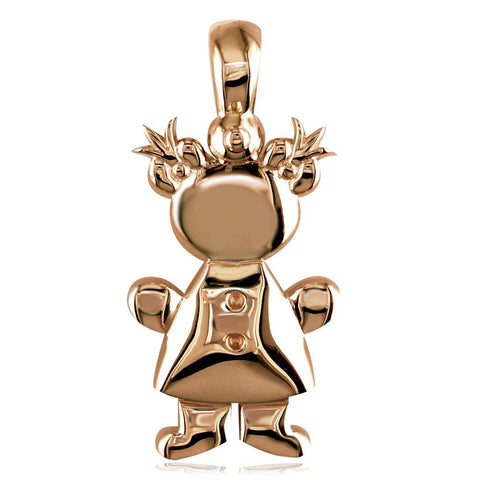 Large Belly Kids Sziro Girl 14k Pink Gold Charm for Mom, Grandma