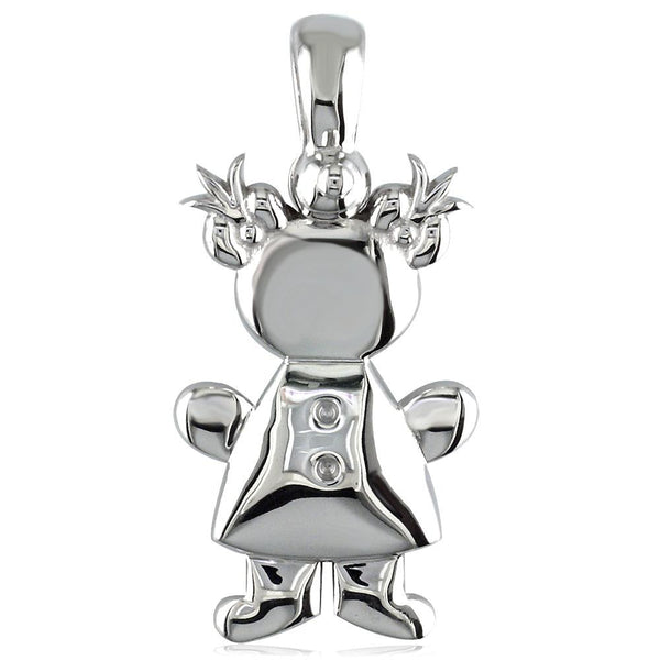 Large Belly Kids Sziro Girl 14k White Gold Charm for Mom, Grandma