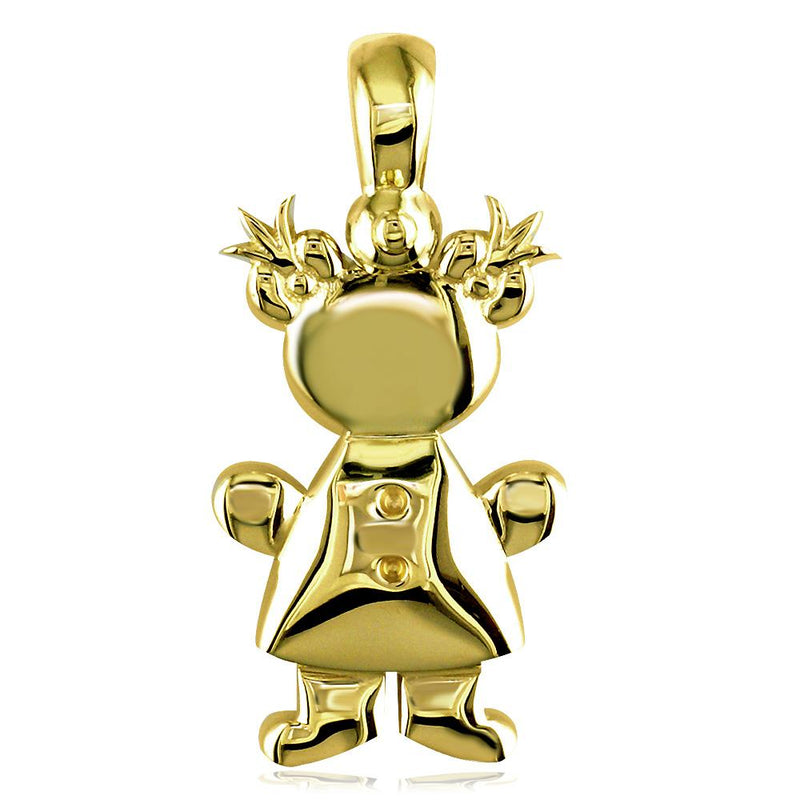 Large Belly Kids Sziro Girl 18k Yellow Gold Charm for Mom, Grandma
