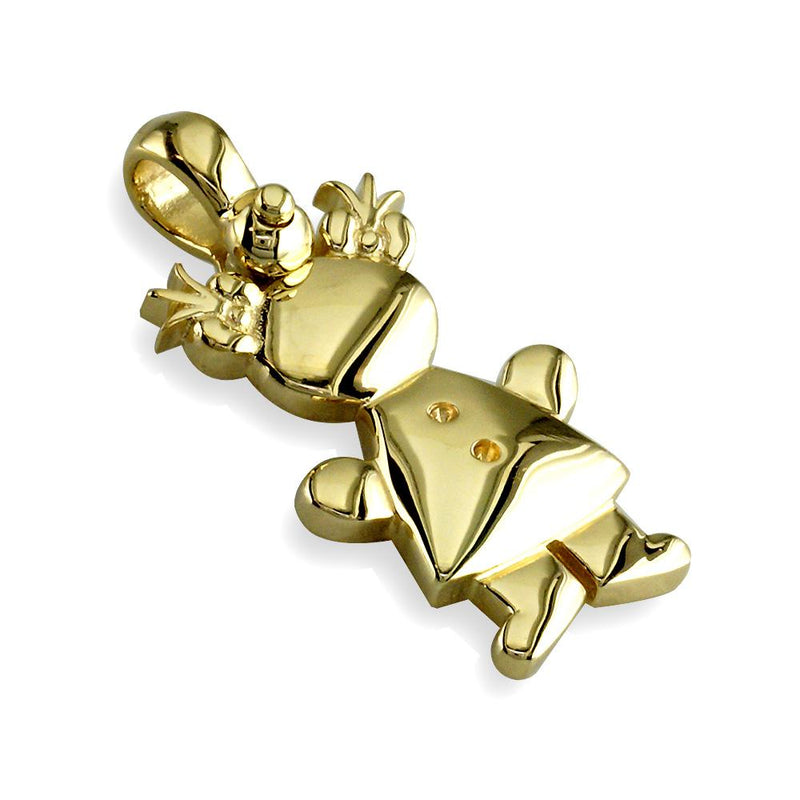 Large Belly Kids Sziro Girl 14k Yellow Gold Charm for Mom, Grandma