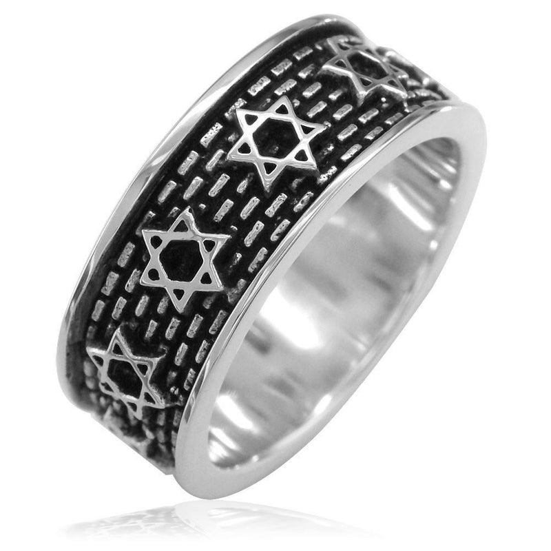 Jewish Star Of David and Brick Wall Ring in Sterling Silver with Black