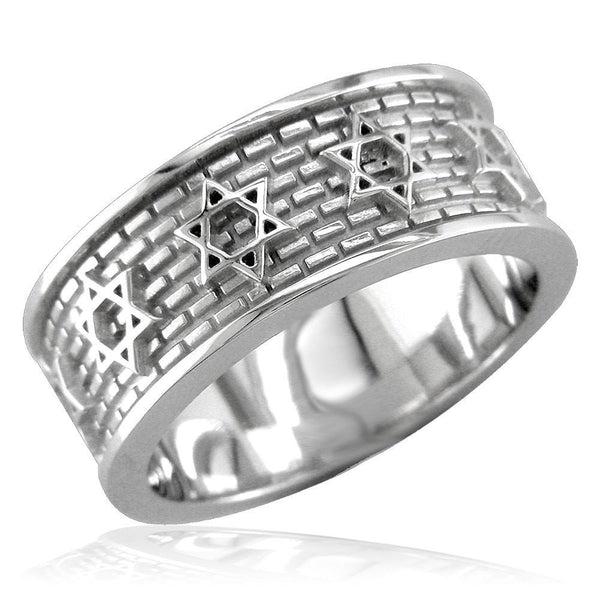 Jewish Star Of David and Brick Wall Ring in 14K White Gold