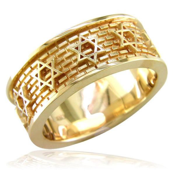 Jewish Star Of David and Brick Wall Ring in 14K Yellow Gold