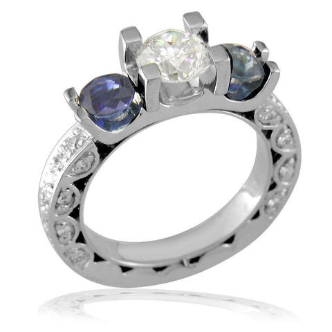 Three Stone Round Diamond and Sapphire Engagement Ring Setting in 14K White Gold