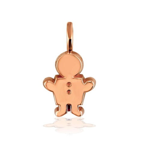 Classic Kids Medium Sziro Boy Charm for Mom, Grandma in 14k Pink Gold