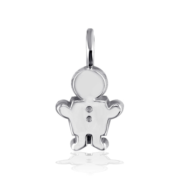 Classic Kids Medium Sziro Boy Charm for Mom, Grandma in Sterling Silver