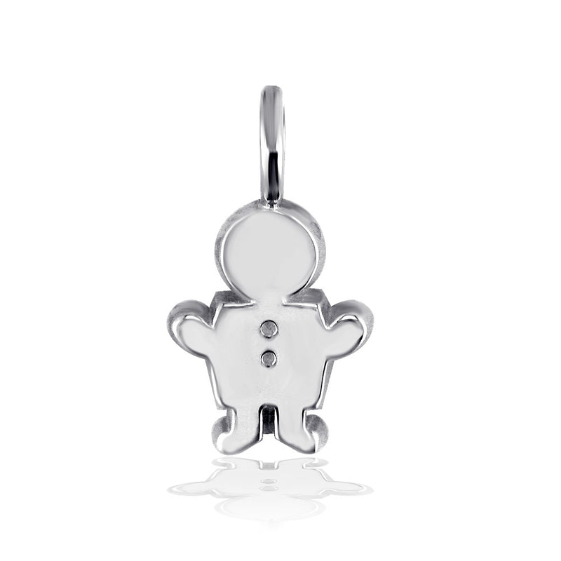 Classic Kids Medium Sziro Boy Charm for Mom, Grandma in 14k White Gold