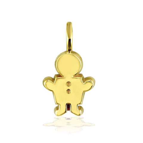 Classic Kids Medium Sziro Boy Charm for Mom, Grandma in 14k Yellow Gold