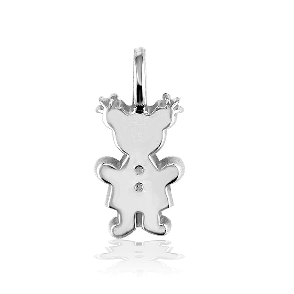 Classic Kids Medium Sziro Girl Charm for Mom, Grandma in Sterling Silver