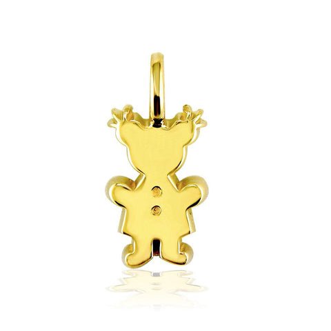 Classic Kids Medium Sziro Girl Charm for Mom, Grandma in 18k Yellow Gold