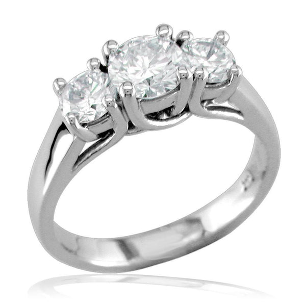 Complete 3 Stone Round Diamonds Anniversary Ring, 0.65CT in 14k White Gold