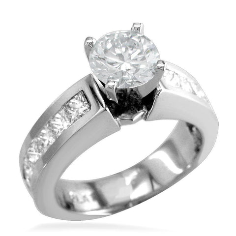 Round Diamond Engagement Ring Setting in 14K White Gold, 0.80CT Total Princess Cut Sides