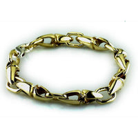 Mens Long Twisted Bullet Link Bracelet in Bronze, 9 Inches