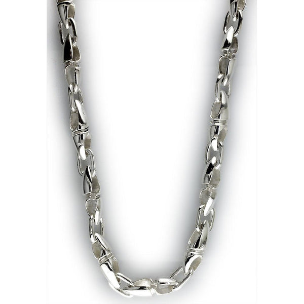 Mens Twisted Bullet Link Chain in Sterling Silver