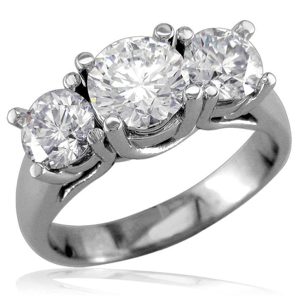 3 Stone Diamond Ring with Braided Settings E/W-Z2525