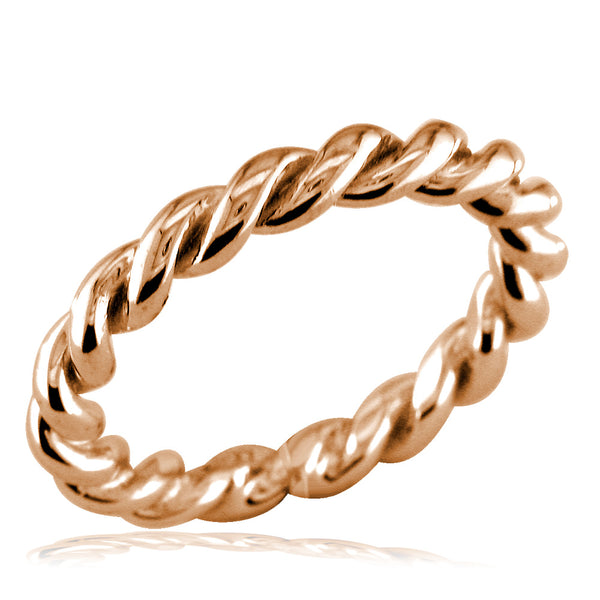 Stackable Ladies Rope Ring in 14k Pink Gold