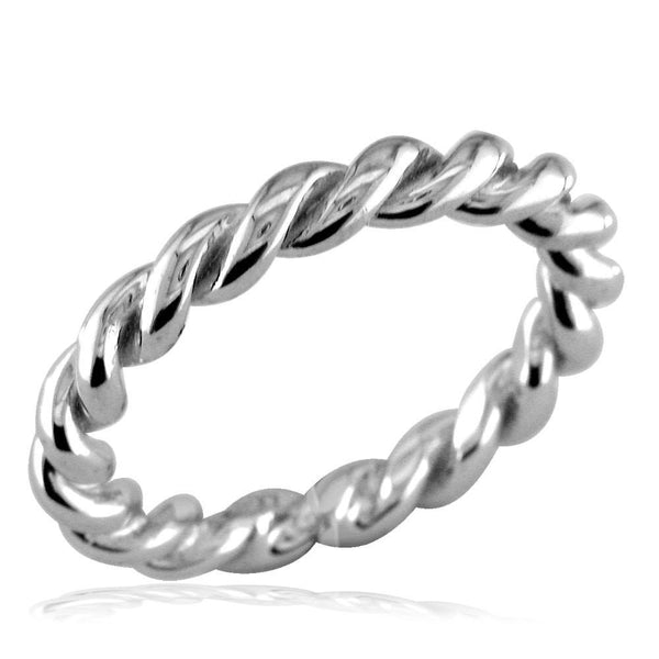 Stackable Ladies Rope Ring with Black in Sterling Silver