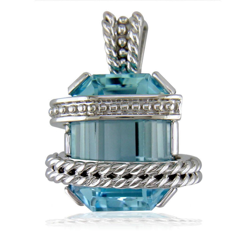 Large Blue Topaz Pendant and Necklace