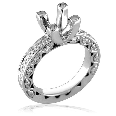 Round Diamond Engagement Ring Setting, 0.65CT Total Sides in 14K White Gold