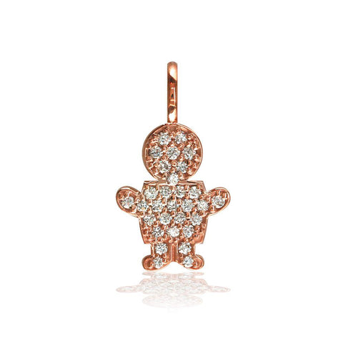 Medium Diamond Kids Sziro Boy Pendant for Mom, Grandma, Thick with Plain Bail in 14k Pink Gold