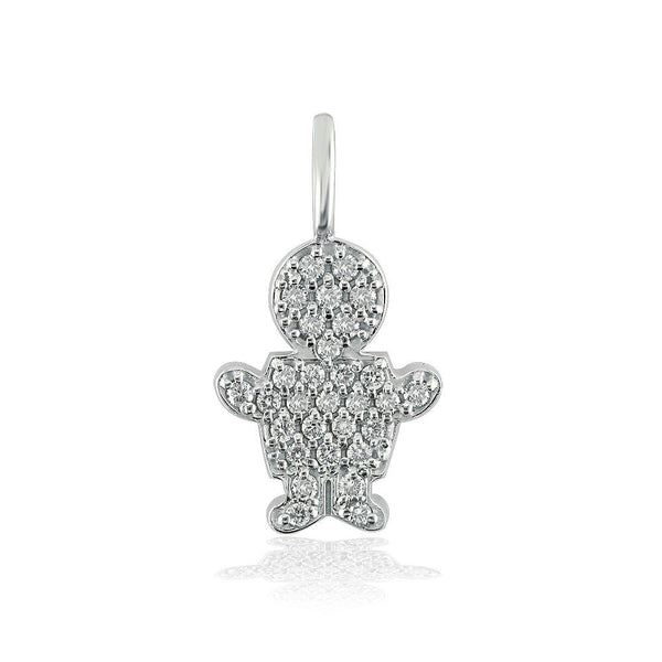 Medium Cubic Zirconia Kids Sziro Boy Pendant for Mom, Grandma, Thick with Plain Bail in 14k White Gold