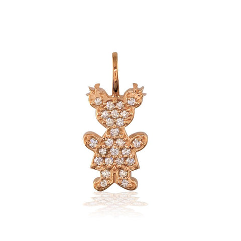 Medium Diamond Kids Sziro Girl Pendant for Mom, Grandma, Thick with Plain Bail in 18k Pink Gold