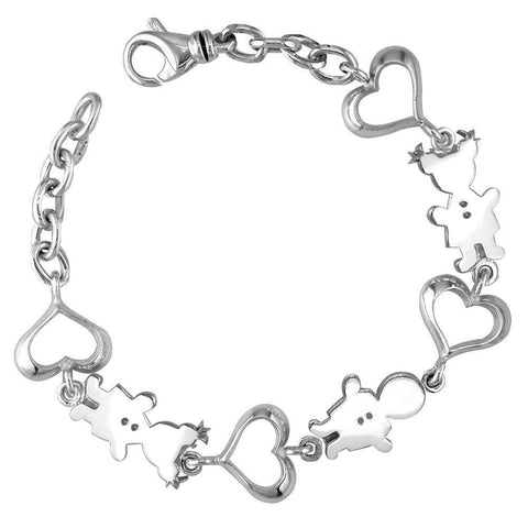 Classic Kids Sterling Silver Heart Charm Bracelet, 1 Boy and 2 Girls