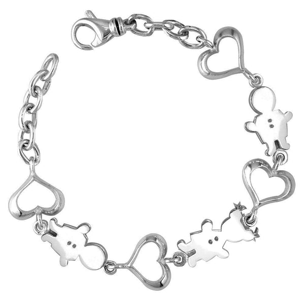 Classic Kids Sterling Silver Heart Charm Bracelet, 2 Boys and 1 Girl
