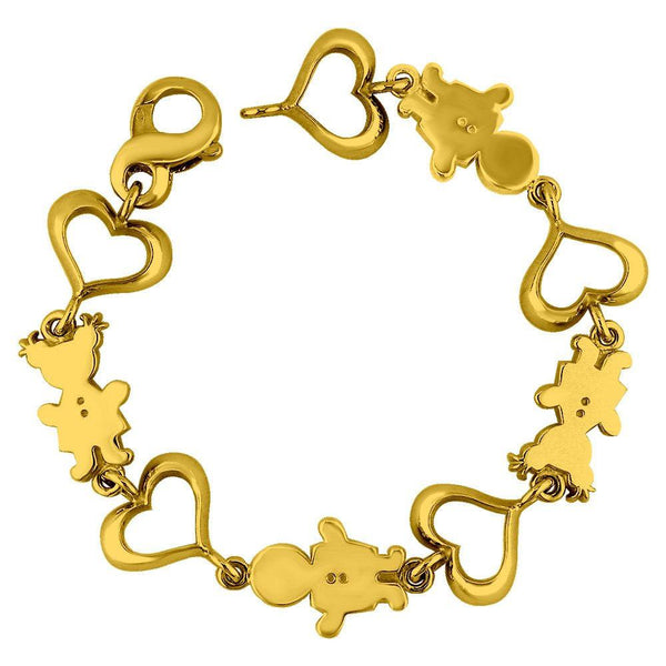 Large Classic Kids Gold Heart Charm Bracelet
