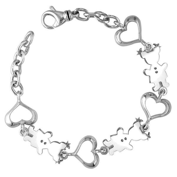 Classic Kids Sterling Silver Heart Charm Bracelet, 3 Girls