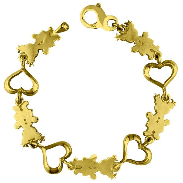 Large Classic Kids Sziro Girls Heart Charm Bracelet