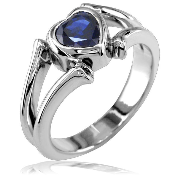 Blue Sapphire Heart Shape Heart Ring in 14K