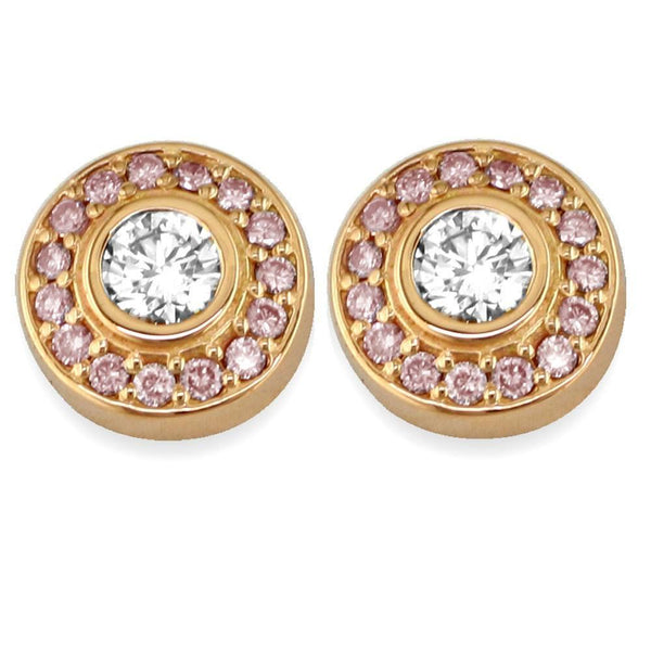 Diamond Bezel Earrings in 18K with Pink Diamonds