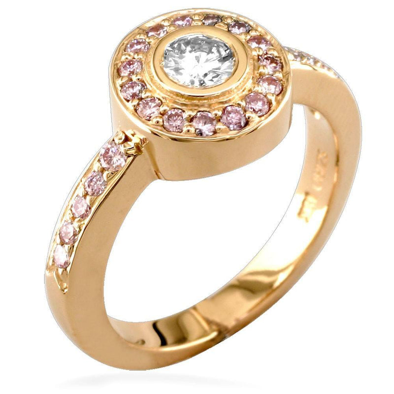 Diamond Bezel Ring in 18K with Pink Diamonds