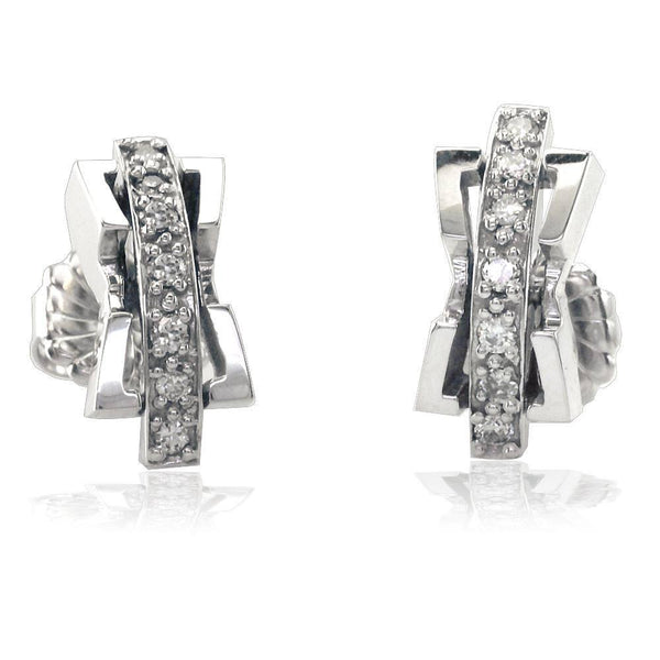 2 Piece Contemporary Diamond Earrings in 18K