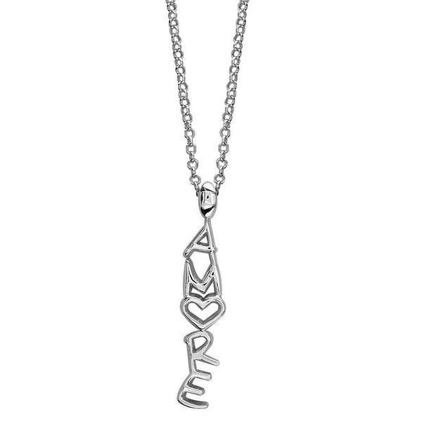 Amore Heart Charm in Sterling Silver, 18 Inches Total Length