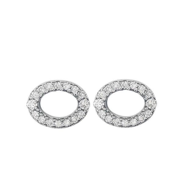 Small Oval Diamond Earrings, 0.52CT in 18k White Gold